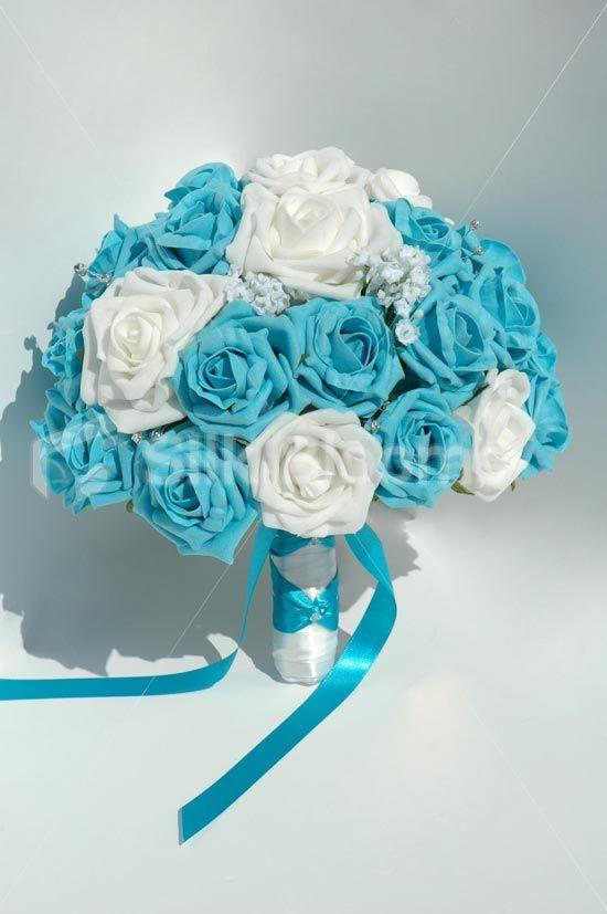 Large White and Aqua Rose Brides Bouquet with White Gypsophila - polka dot ribbon