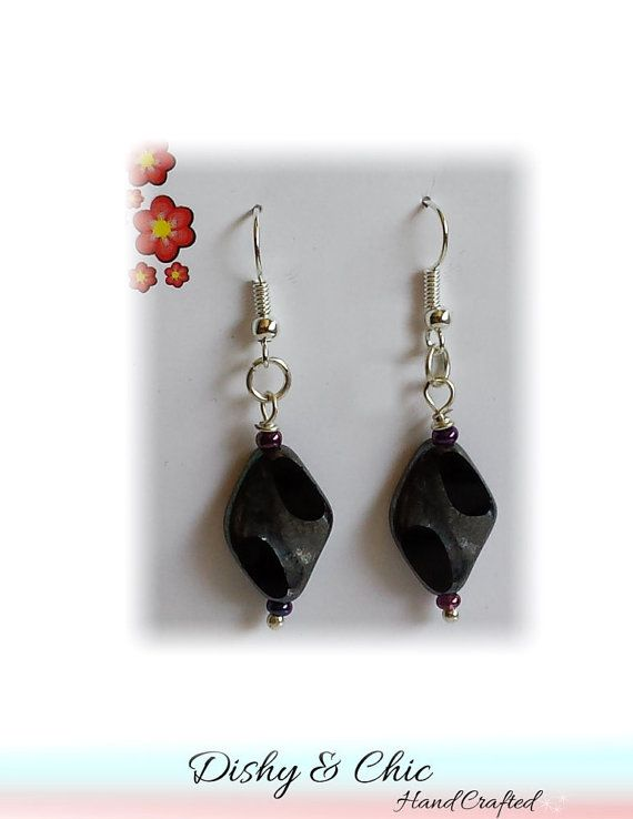 Black Drop Earrings Gorgeous Shades of Black on Brass Base Silver Earring French Hook