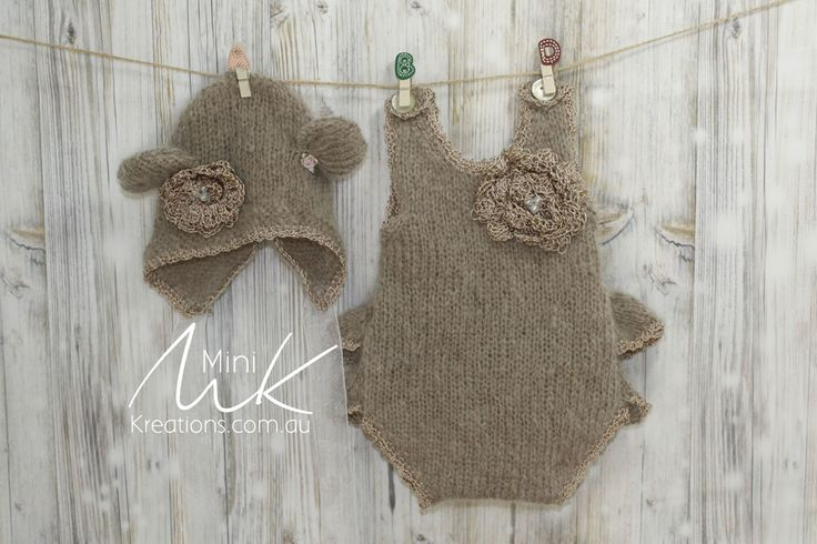Onesie in mohair to fit Newborn or Reborn dolls - bear ears on the bonnet and ruffles on the tushie