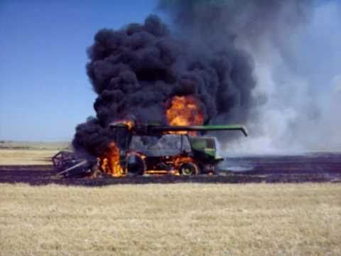 John Deere Combine Fire - YouTube Heart Breaking!