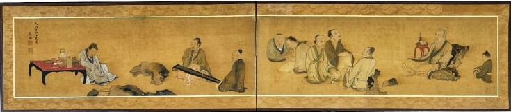 円山応挙 Maruyama Okyo, Nine Old Men of Mt. Xiang, a 2-fold Japanese screen painting. Edo period. 1783/1783. It shows a group of nine men engaging in elegant pursuits such as calligraphy, conversation and music, while seated in a garden among eccentrically shaped rocks. The scene is the retreat on Mt. Xiang of the well-known Chinese poet of the Tang dynasty, Bo Juyi (772-846). British Museum.