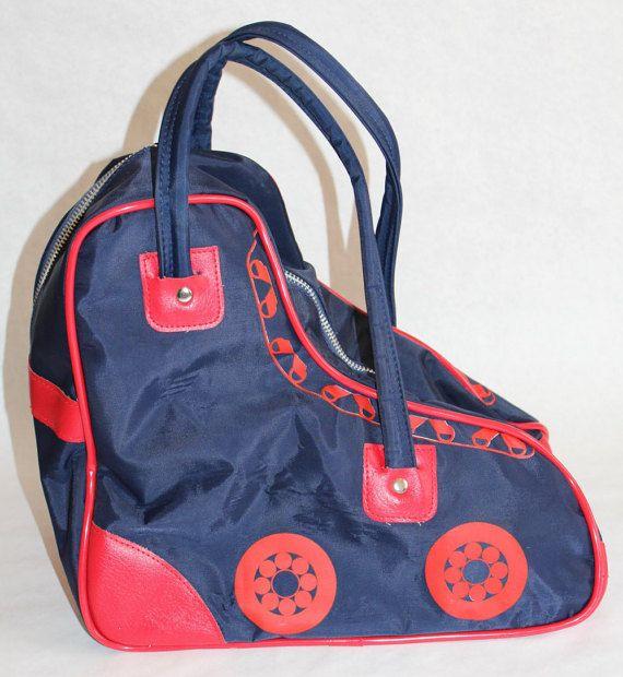 Vintage '70s '80s Retro Roller Skate Derby Skating Storage Tote Bag SKATE SHAPE Navy Red Case Duffel