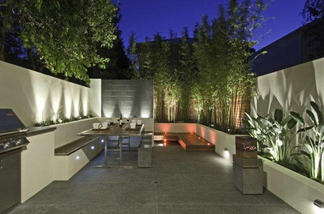 bereich bambus sichtschutz steinmauer kamin   garten   pinterest, Garten Ideen