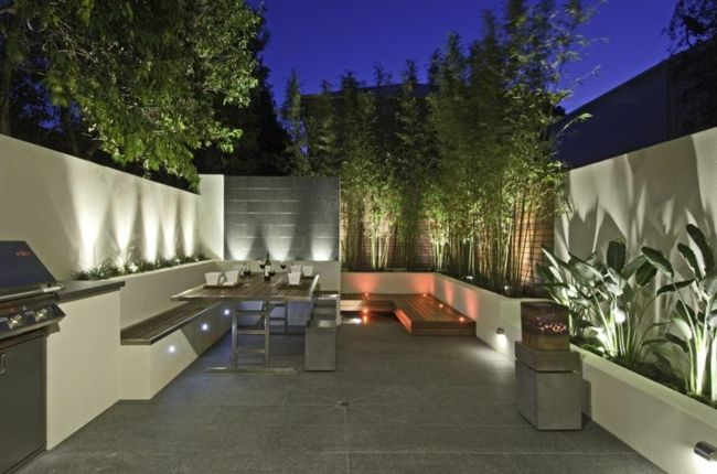 bereich bambus sichtschutz steinmauer kamin | garten | pinterest, Garten Ideen