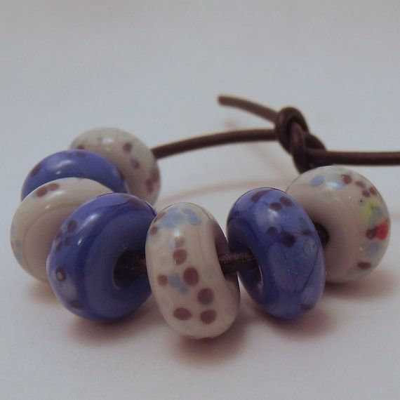 Blue and pale grey multicolour frit speckled by ALittleTrinket, £4.00