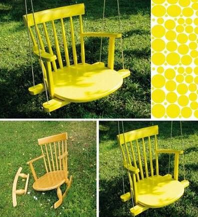 Easy Homesteading: DIY Upcycle Chair Swing. So cool!! I would totally do this in green & yellow #sicem