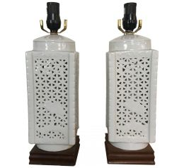 Asian Decorative Arts Japanese White Ceramic Table Lamps Set