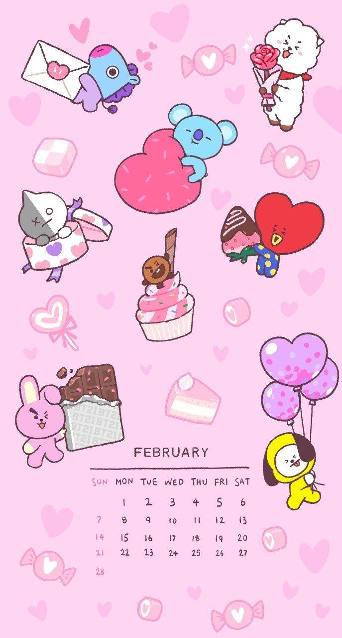 Bt21 On Twitter In 2021 Bts Calendar Bts Wallpaper Bts Fanart Bts wallpaper 2021 pink