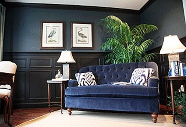 oooh, navy with black.House Ideas, Black Trim, Monaco Blue, Man Caves