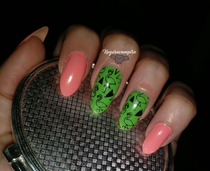 flamingos, nails, stamping, bundle monster / kagosavampire