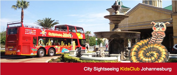 The shy Shongolo welcomes   you on board!  With your own kids channel to listen to and free activity book, you will have so much fun on Johannesburg's much loved red Bus! City Sighseeing is proudly Carbon Neutral and we care about the future of our planet.  http://www.citysightseeing.co.za/kidsJHB.php