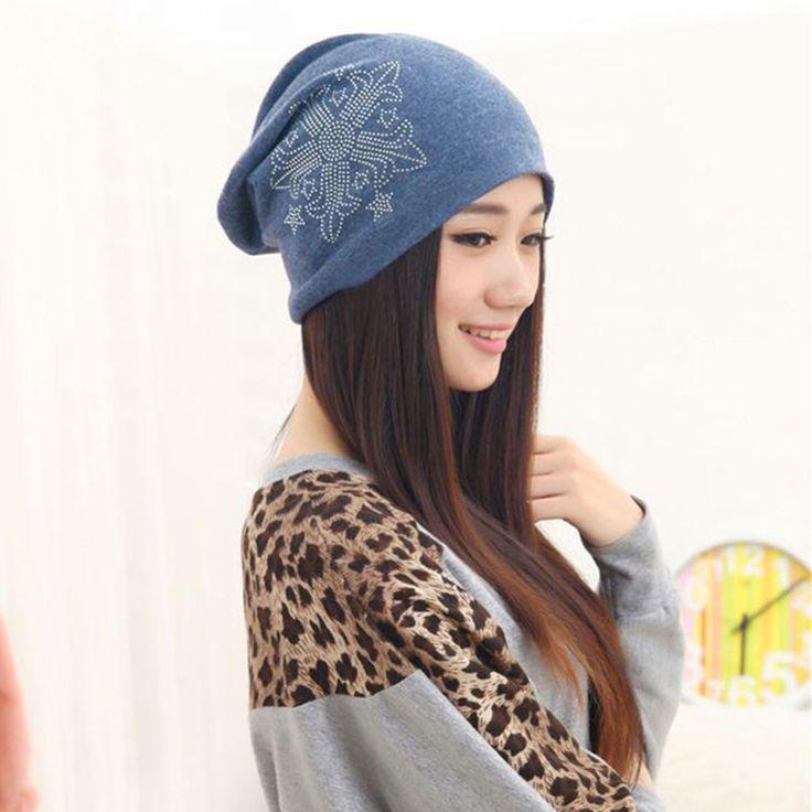 >> Click to Buy << Women Autumn Winter Hat Casual Thin Hood Cap Hats For Women Girl Cap Gorros Hip hop Skullies Female Diamond Flower Cotton Beanie #Affiliate