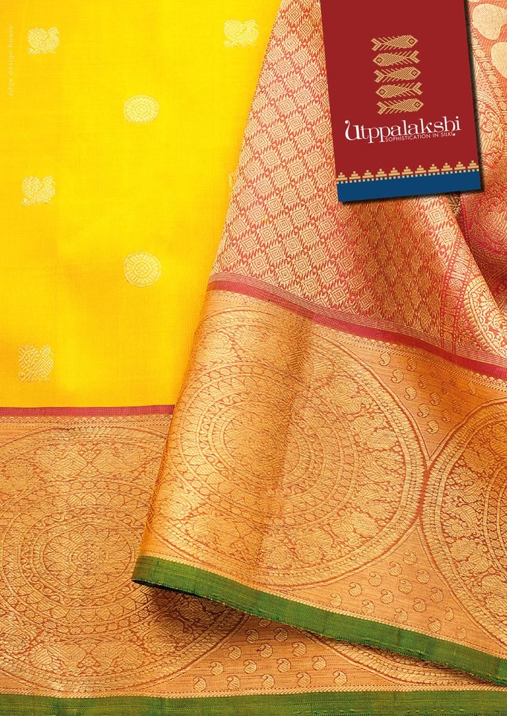 Yellow kancheevaram Saree with annam and chakkram all over the saree with a big chakkram in the border. #Utppalakshi #Sareeoftheday#Silksaree#Kancheevaramsilksaree#Kanchipuramsilks #Ethinc#Indian #traditional #dress#wedding #silk #saree#craftsmanship #weaving#Chennai #boutique #vibrant#exquisit #pure #weddingsaree#sareedesign #colorful #elite