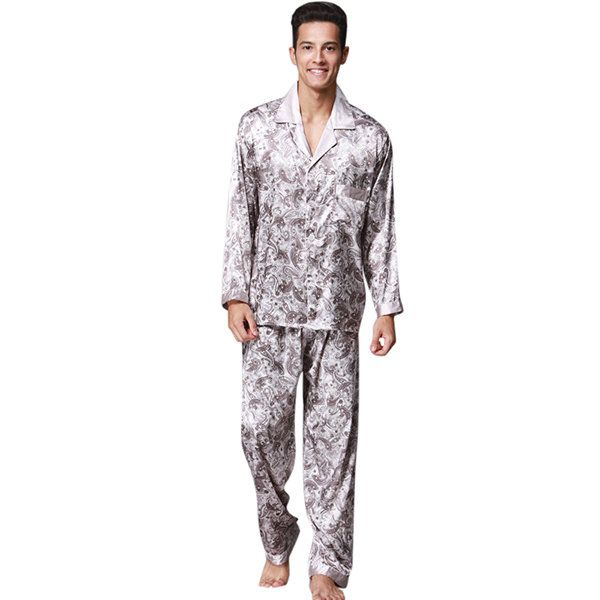 Two Pieces Pajamas Sets Soft Silk-like Turn-Down Collar Sleepwear for Men
