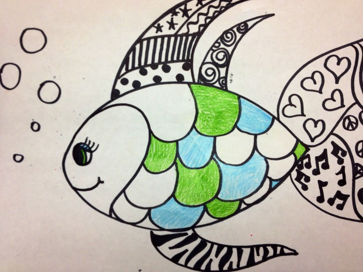 I drew this using sharpies and color pencils to teach line, pattern, design, and value to my 3rd, 4th and 5th grade art students....fishy