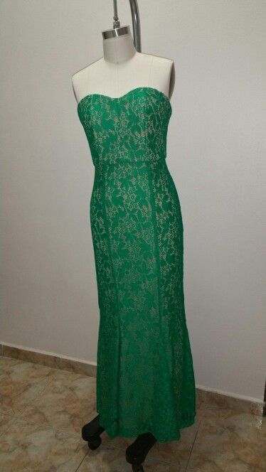 Front side- lace green dress