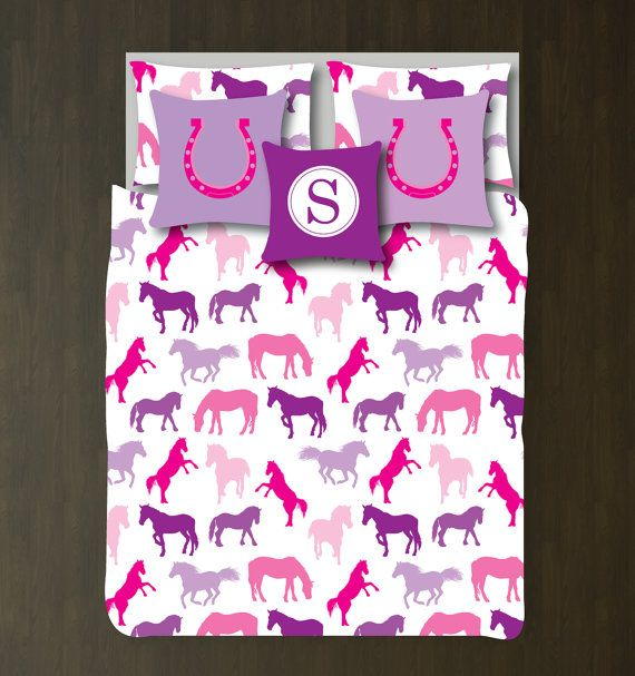 Custom Horse Bedding Set-Duvet Cover and Shams-Choose ANY Colors-Full/Queen-King-Bedroom-Bed-Room-Animals-Equestrian-Pony-Horseshoe-Size