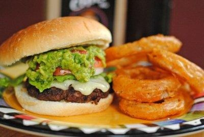 "Grilled Guac & Spicy Onion Rings! If you don't have ""Dad's\..."