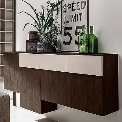 Beautiful Dark Wooden Wall Unit 'Art'. Dark wood with a light shade. Beautiful piece and materials. My Italian Living.