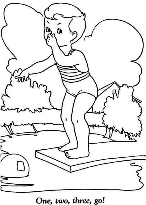 Summertime Summertime Holiday We Swim In The Pool Coloring Page