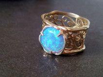 Lace Ring filigranen Ring, Opalring, Goldring , Ha