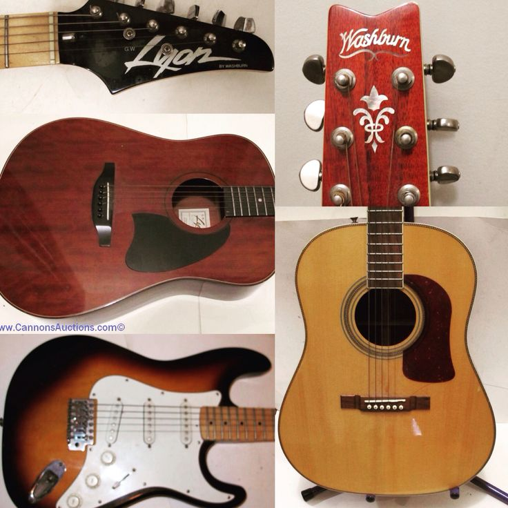 Lyon by Washburn electric guitar with hard-shell case; Lyon by Washburn steel string acoustic guitar with hard-shell case and Washburn acoustic guitar with stand. Bids close Wed, Aug 10 from 11am.