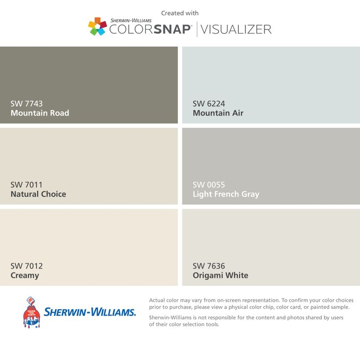 I found these colors with ColorSnap® Visualizer for iPhone by Sherwin-Williams: Mountain Road (SW 7743), Natural Choice (SW 7011), Creamy (SW 7012), Mountain Air (SW 6224), Light French Gray (SW 0055), Origami White (SW 7636).