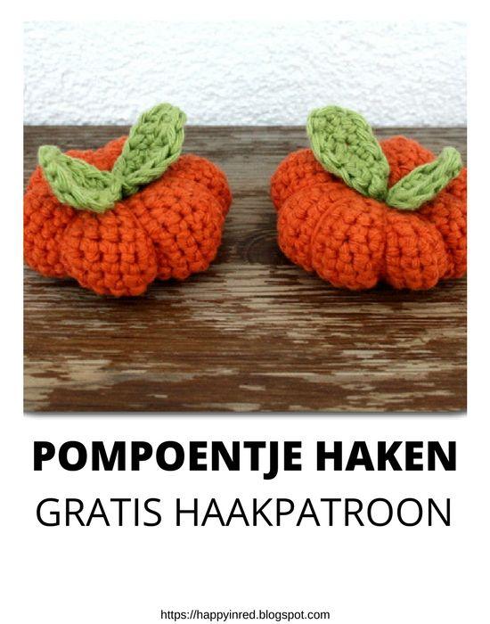 Pompoentje haken, gratis haakpatroon. Wil je een pompoen haken deze herfst? Bekijk het gratis haakpatroon   Happy in Red