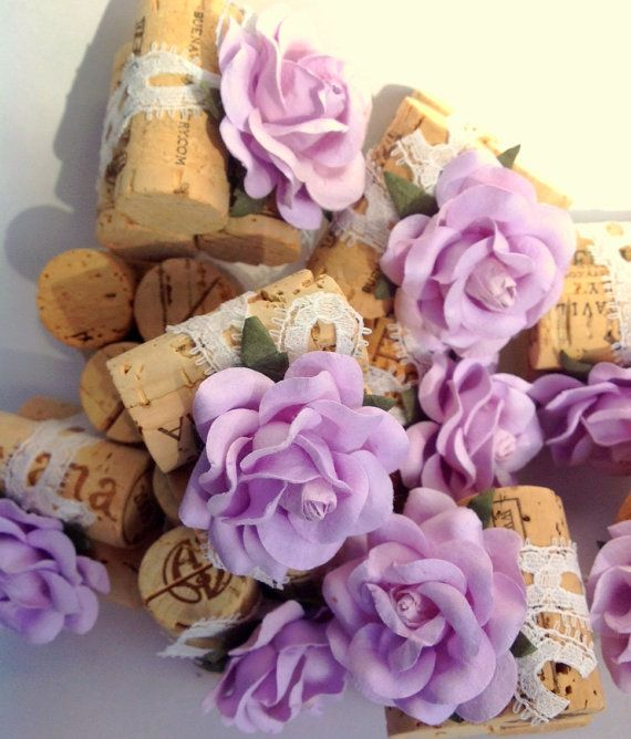 Items Similar To Place Card Holder Using French Lilac Flowers Antique Style Lace Wedding Holders Wine Cork Lavender