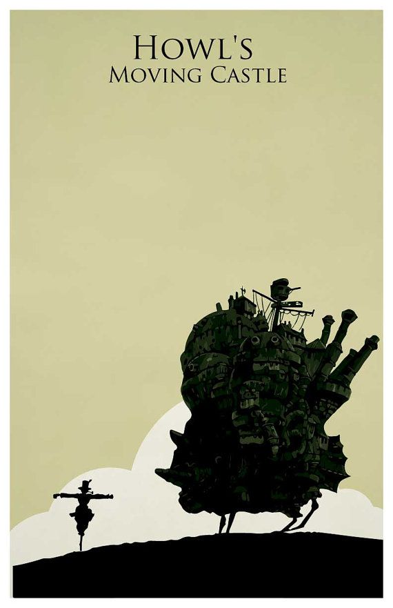 Hayao Miyazaki poster Howl's Moving Castle by MINIMALISTPRINTS