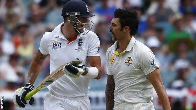 Kevin Pietersen and Mitchell Johnson
