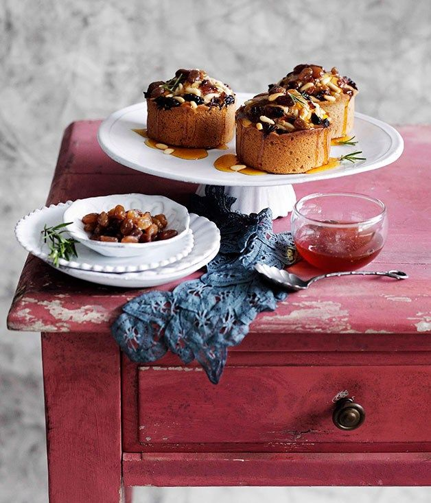 chestnut cakes with raisins pine nuts and honey