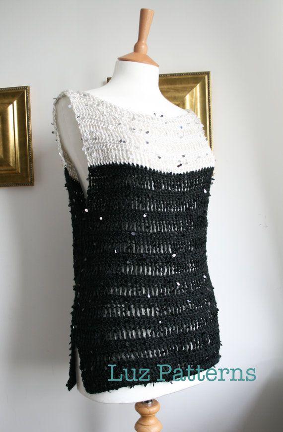 Crochet pattern, Black and white twenties style crochet tunic top pattern #crochetpattern #crochettop
