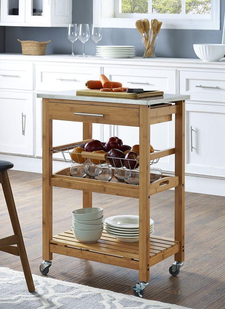 kitchen utility cart storage drawer basket shelf rolling bamboo wood furniture