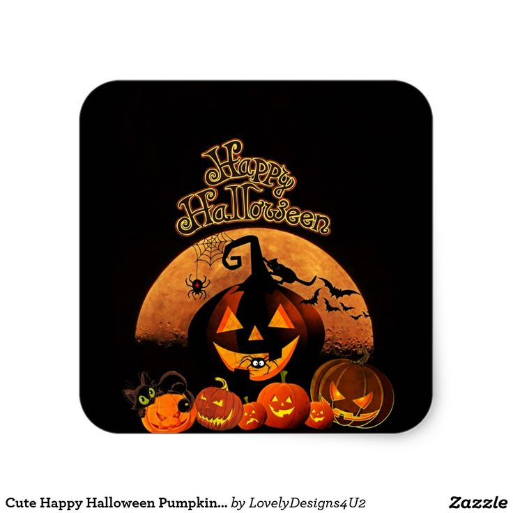 Cute Happy Halloween Pumpkins Sticker