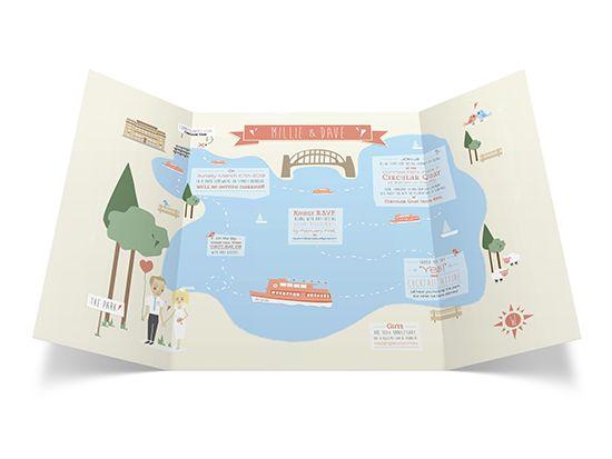 Wedding Invitation - Map Illustration