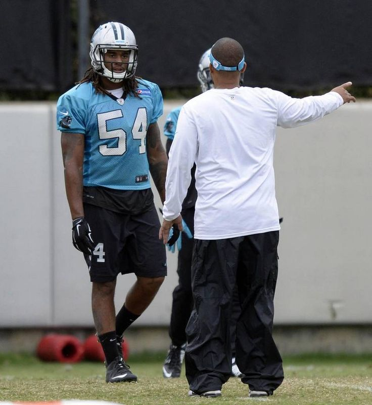 aa2dc6c11 ... Number Tank Top Carolina Panthers Shaq Thompson (54) gets instructions  during practice at the teams practice Youth Nike ...