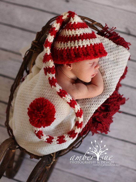 Handmade in UK Crochet Tricot Noël Santa Elf Chapeau Bébé Enfant Photo Prop
