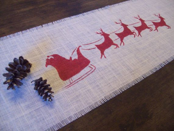 Christmas Table Runner with Red Santa and by NorthCountryComforts