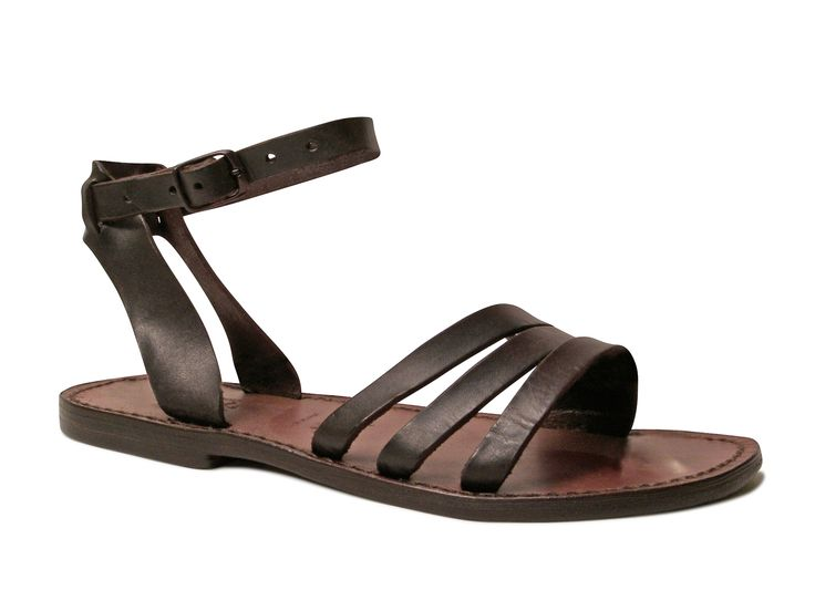 Brown leather franciscan sandals for womens handmade in Italy - Italian Boutique €65