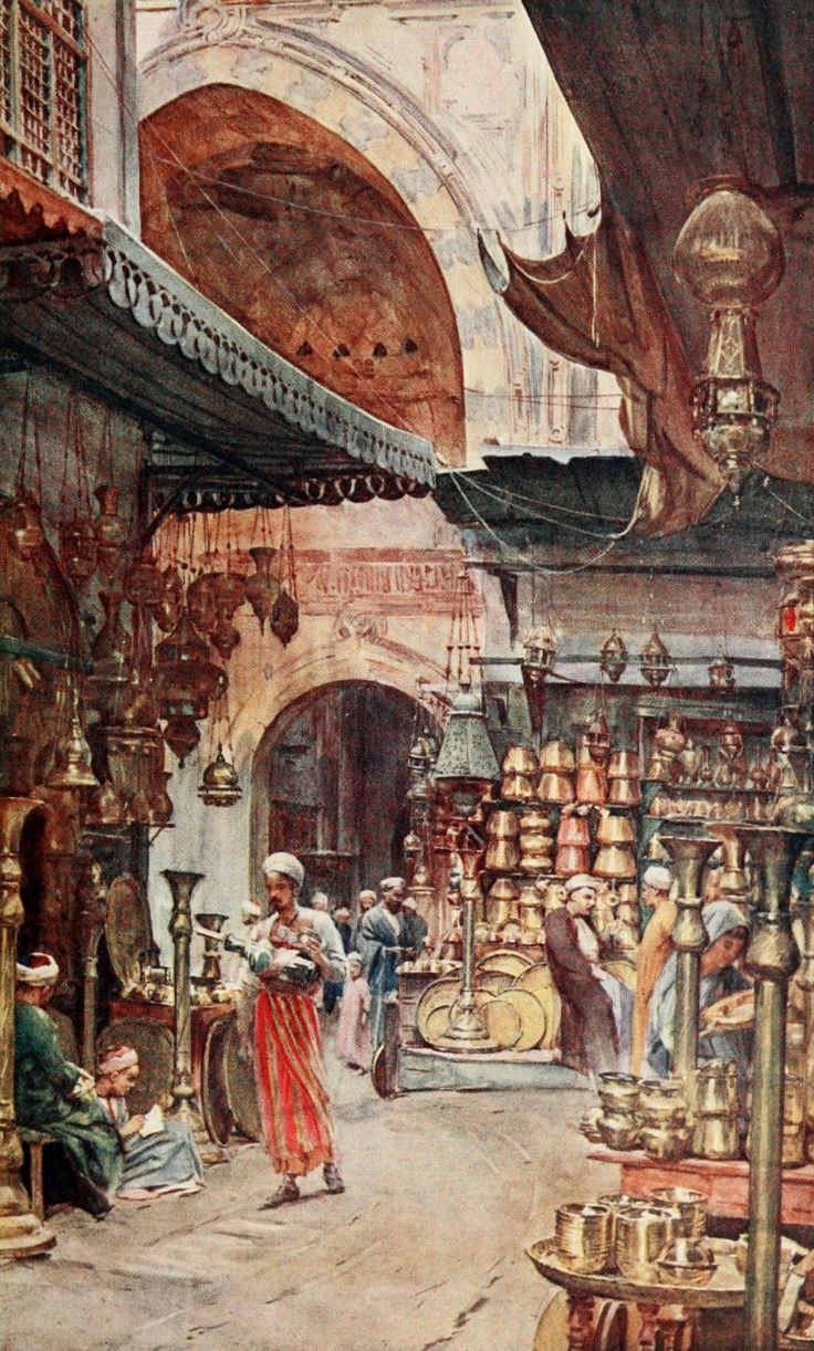 Khan el-Khalili (خان الخليلي‎‎) souk in Cairo, Egypt 1800s. Founded in 970 AD in the reign of Fatamids & was the burial site of Fatamid caliphs known as Saffron Tomb. In the 1300s the Mamluks demolished the Fatamid cemetery & turned it into a souk. Stories abound that Mamluks disposed of the remains of Fatamid rulers very disrespectfully by throwing their bones in the hills, some even in rubbish bins. If true, it was a deplorable act by the Mamluks -- Artist Tyndale, Walter (1855-1943).