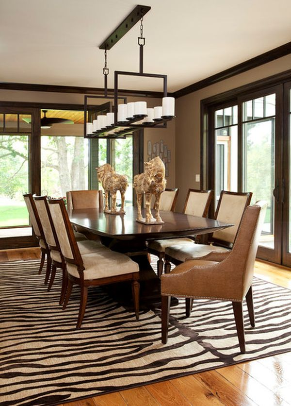 5 Rooms Featuring A Zebra Print Rug Transitional Dining