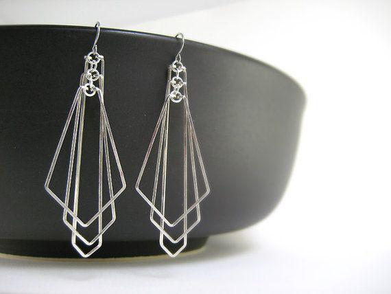 Art Deco Earrings  silver geometric fan chevron by SimplySerasi