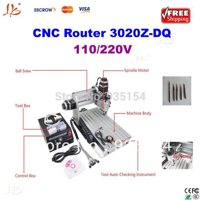 factory price cnc router 3020Z-DQ, 3 axis cnc milling machine for milling pcb,wood, etc