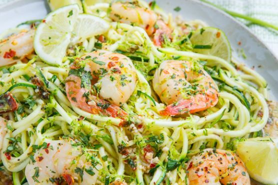 Cilantro Lime Shrimp Scampi with Zucchini Noodles might be just the Mediterranean recipe you are searching for. This recipe makes 4 servings with 196 calories, 25g of protein, and 8g of fat each. For $2.97 per serving, this recipe covers 18% of your daily requirements of vitamins and minerals. It works well as a rather cheap main course. It is a good option if you're following a gluten free, primal, and pescatarian diet. Head to the store and pick up jumbo shrimp, lime zest, salt and pepp...