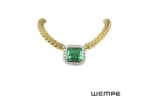 Wempe, yellow gold emerald and diamond necklace, christmas gift, Halskette, Smaragd, Smaragdkette, Weihnachtsgeschenk, Luxus