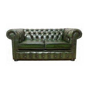 Chesterfield 2 Seater Antique Green Leather Sofa Offer: Amazon.co.uk:  Kitchen