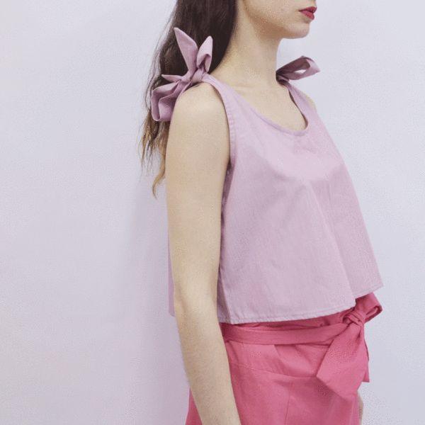 Cropped Top Bokiku in Thin Cherry Stripe Poplin – Akira Mushi