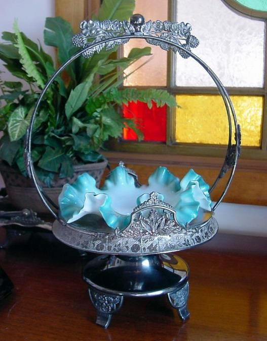 1880s Fancy DERBY Silverplate Frame with original Teal Cased BRIDES BASKET and extra Bowl *Free Shipping