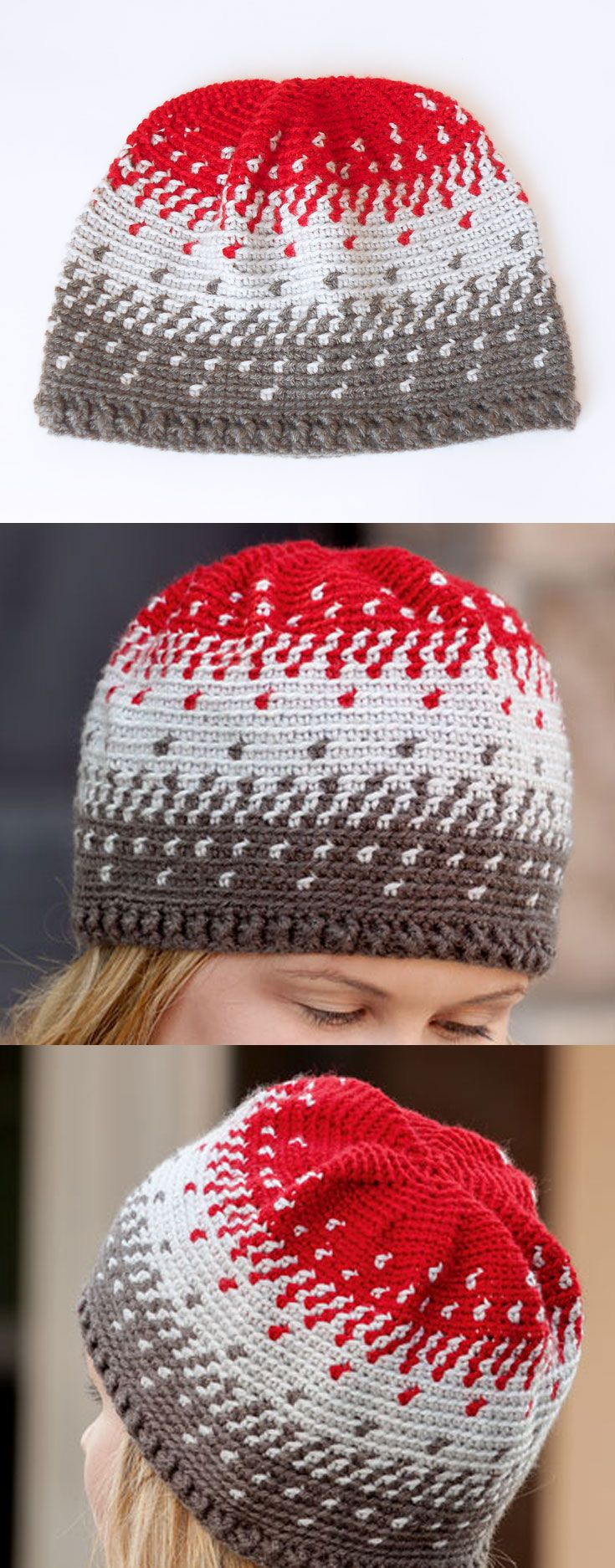 Blending colors hat in 3 sizes (man, woman and teen), in Learn to Tapestry Crochet book, that includes basic steps on how to carry and wrap yarn, change colors, step-by-step photos, written instructions and charts. A great learn-to book! Also included are 6 projects perfect for a beginner.